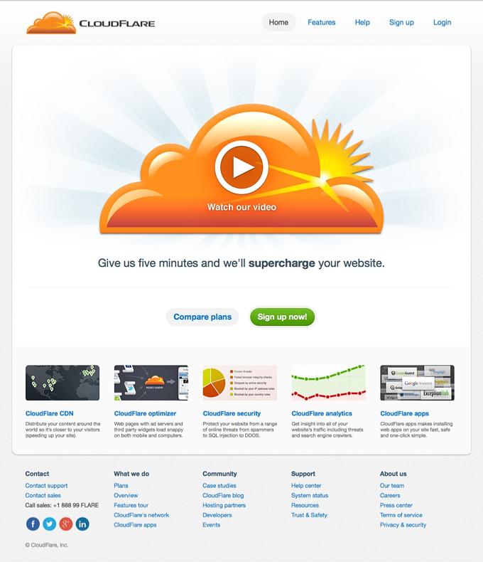 Cloud Flare Homepage